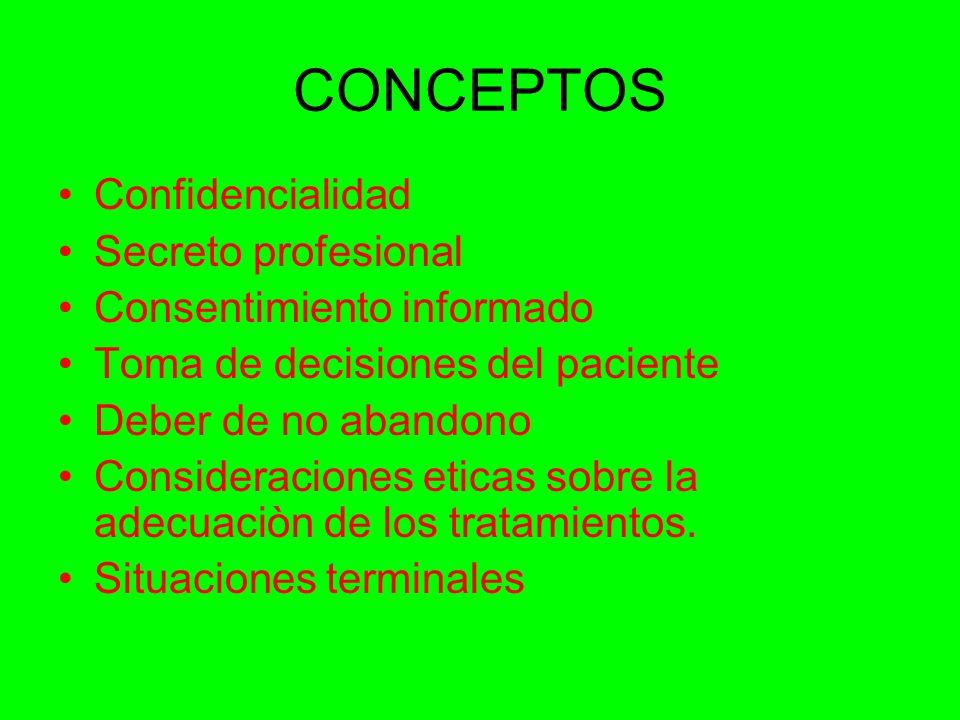 CONCEPTOS Confidencialidad Secreto profesional Consentimiento informado Toma de decisiones del paciente Deber de no abandono Consideraciones eticas sobre la adecuaciòn de los tratamientos.