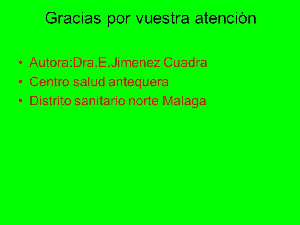 Gracias por vuestra atenciòn Autora:Dra.E.Jimenez Cuadra Centro salud antequera Distrito sanitario norte Malaga