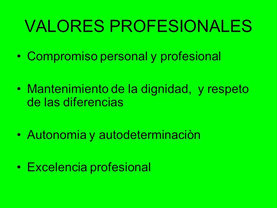VALORES PROFESIONALES Compromiso personal y profesional Mantenimiento de la dignidad, y respeto de las diferencias Autonomia y autodeterminaciòn Excelencia profesional