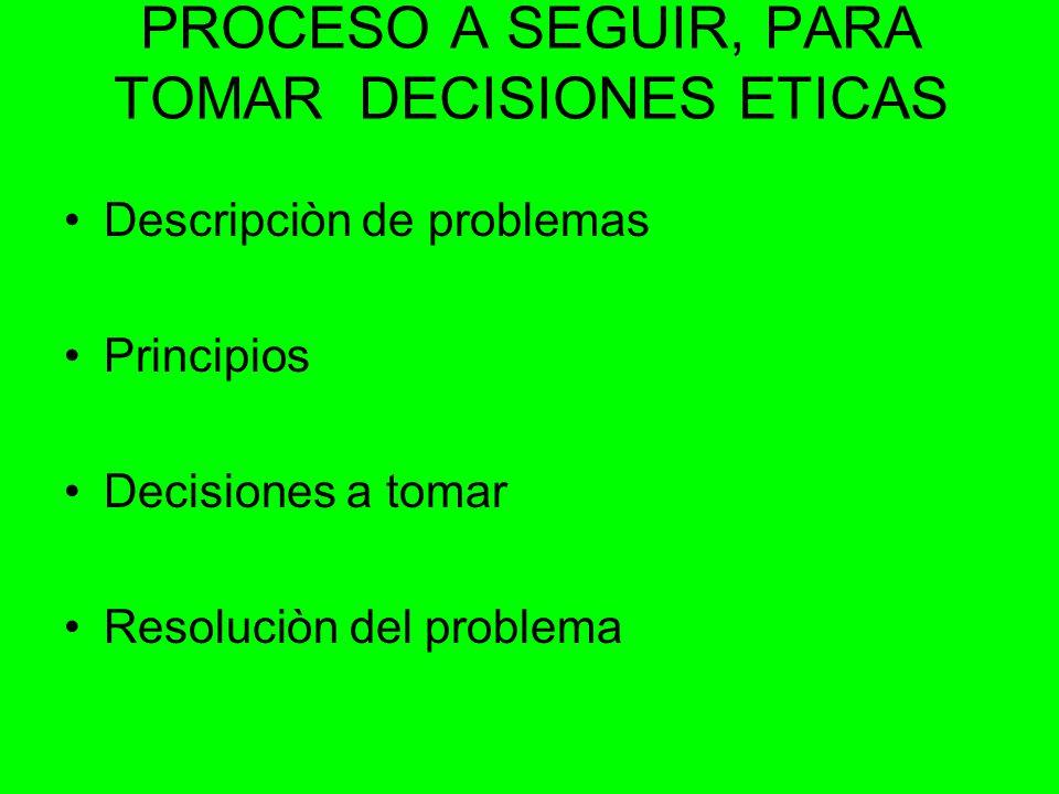 PROCESO A SEGUIR, PARA TOMAR DECISIONES ETICAS Descripciòn de problemas Principios Decisiones a tomar Resoluciòn del problema
