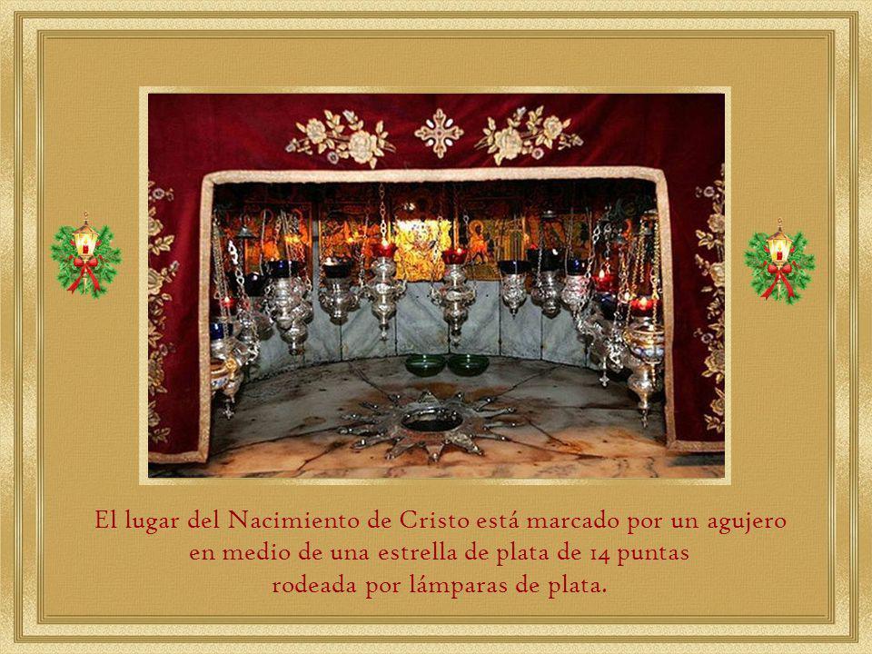 la Gruta de la Natividad, ubicada detrás del altar y que está a cargo de la Iglesia Ortodoxa.