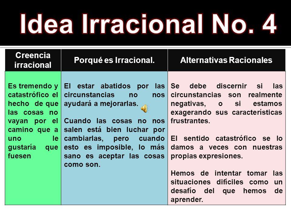 Creencia irracional Porqué es Irracional.Alternativas Racionales Es tremendo y catastrófico el hecho de que las cosas no vayan por el camino que a uno