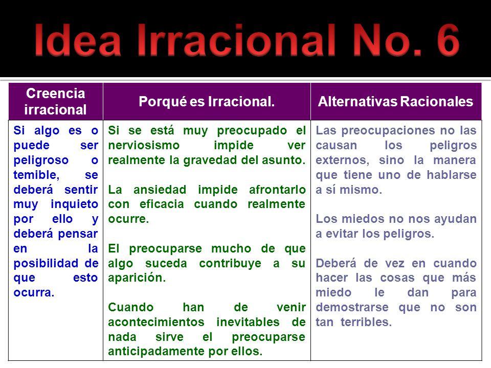 Creencia irracional Porqué es Irracional.Alternativas Racionales Si algo es o puede ser peligroso o temible, se deberá sentir muy inquieto por ello y