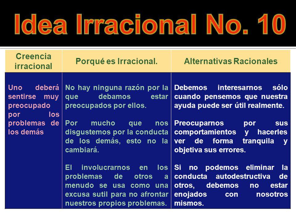 Creencia irracional Porqué es Irracional.Alternativas Racionales Uno deberá sentirse muy preocupado por los problemas de los demás No hay ninguna razó