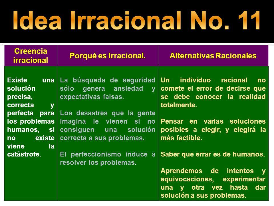 Creencia irracional Porqué es Irracional.Alternativas Racionales Existe una solución precisa, correcta y perfecta para los problemas humanos, si no ex