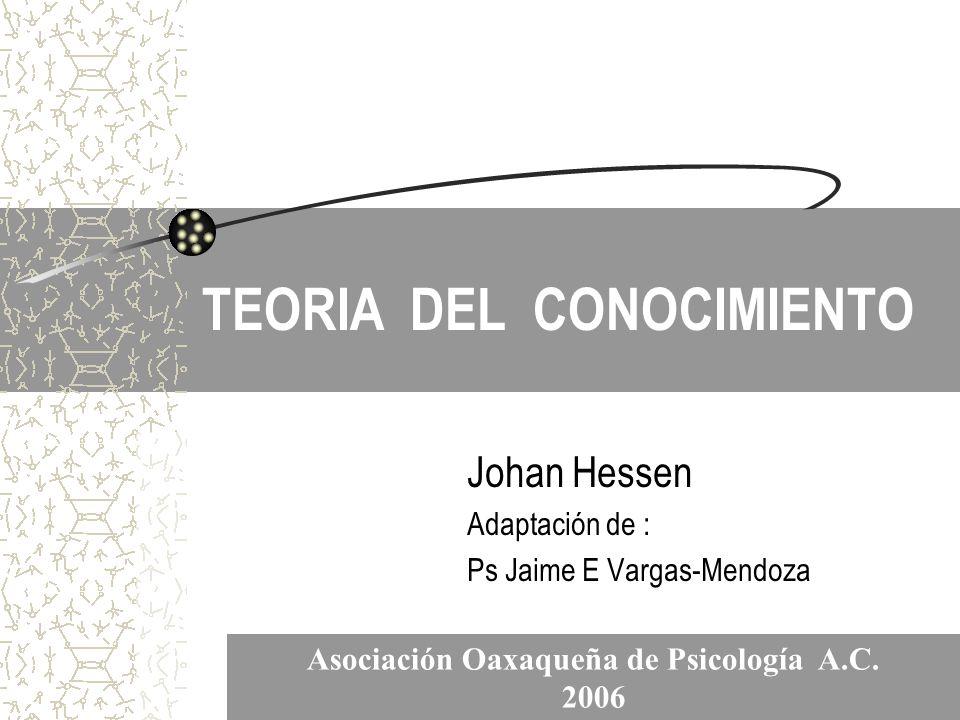 TEORIA DEL CONOCIMIENTO Johan Hessen Adaptación de : Ps Jaime E Vargas-Mendoza Asociación Oaxaqueña de Psicología A.C. 2006