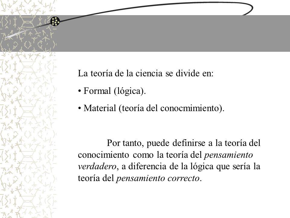 La teoría de la ciencia se divide en: Formal (lógica). Material (teoría del conocmimiento). Por tanto, puede definirse a la teoría del conocimiento co