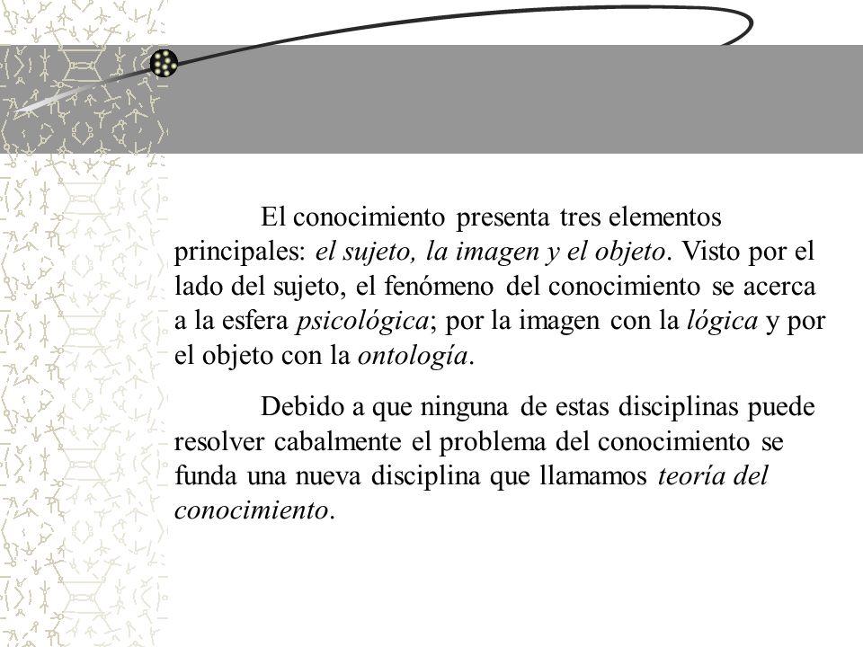 El conocimiento presenta tres elementos principales: el sujeto, la imagen y el objeto. Visto por el lado del sujeto, el fenómeno del conocimiento se a