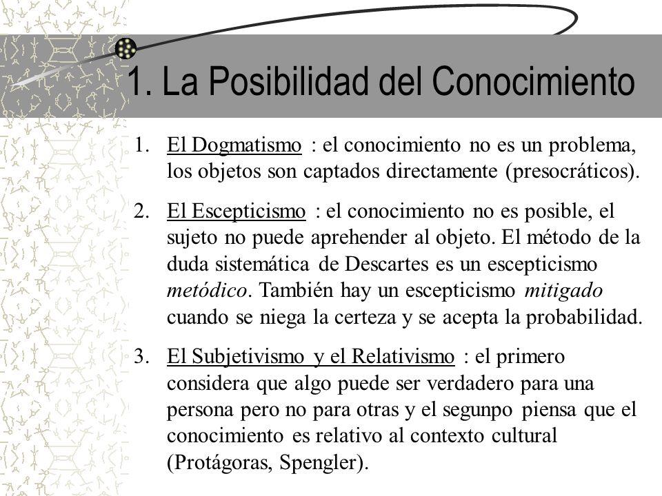 1. La Posibilidad del Conocimiento 1.El Dogmatismo : el conocimiento no es un problema, los objetos son captados directamente (presocráticos). 2.El Es