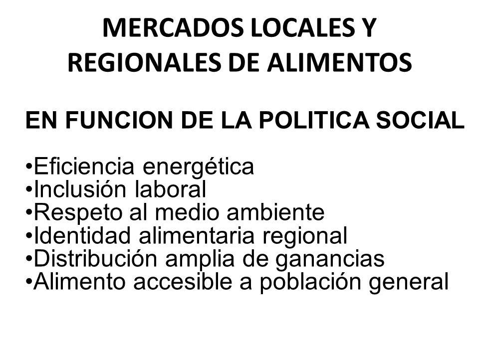 MERCADOS LOCALES Y REGIONALES DE ALIMENTOS EN FUNCION DE LA POLITICA SOCIAL Eficiencia energética Inclusión laboral Respeto al medio ambiente Identida