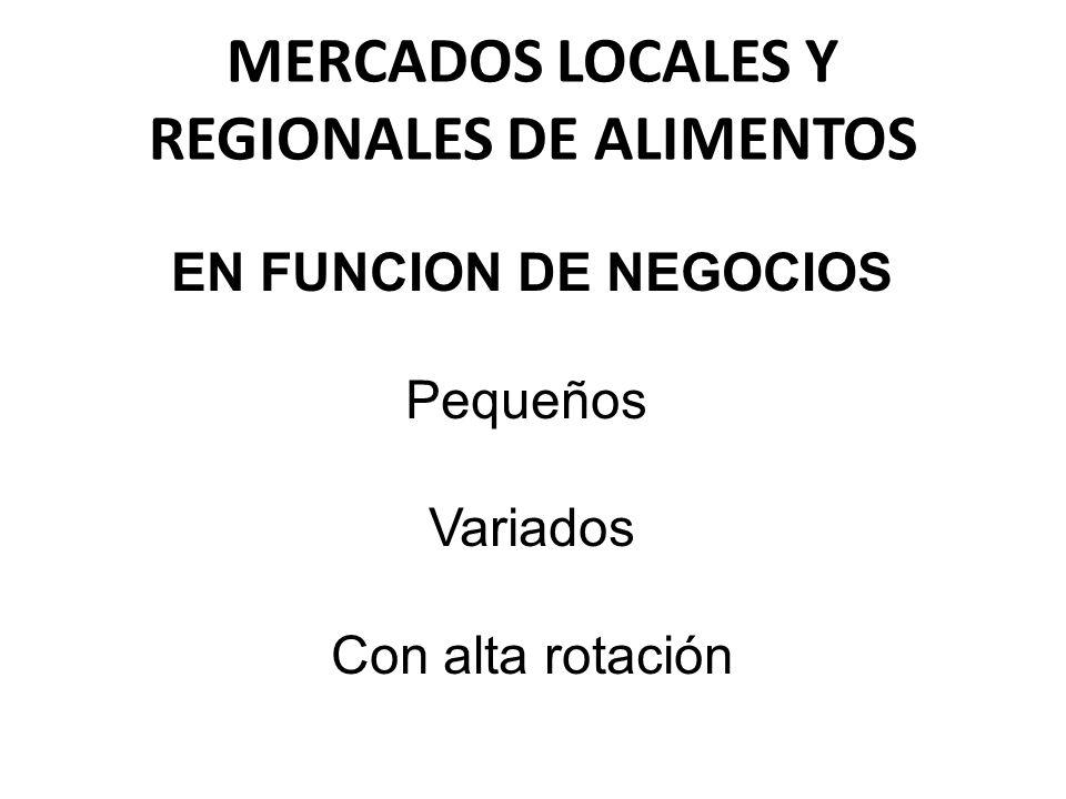 MERCADOS LOCALES Y REGIONALES DE ALIMENTOS EN FUNCION DE NEGOCIOS Pequeños Variados Con alta rotación
