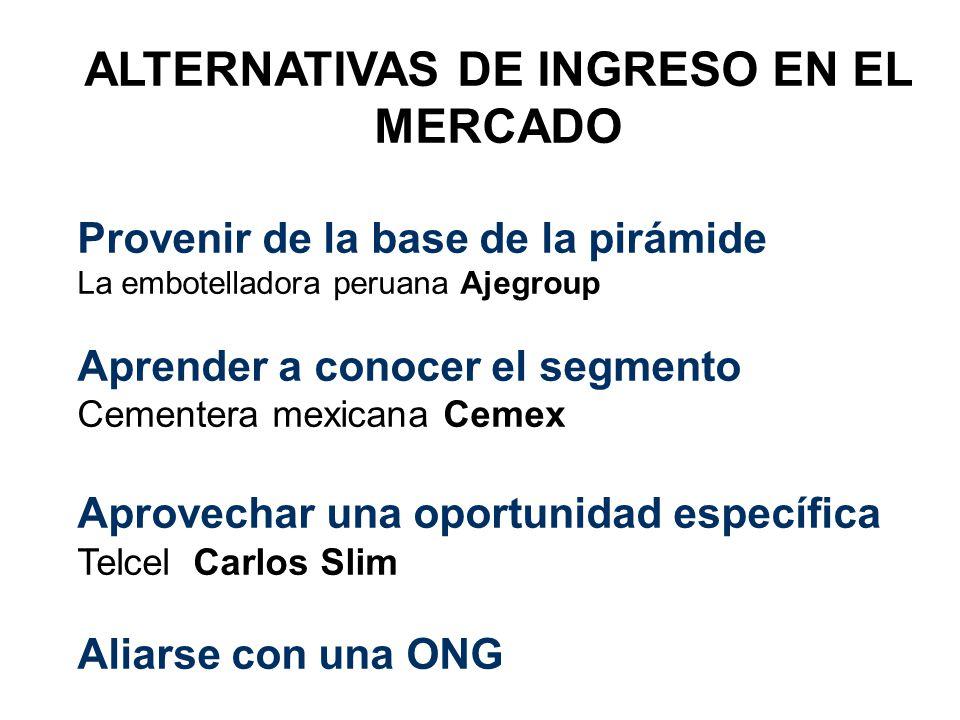 ALTERNATIVAS DE INGRESO EN EL MERCADO Provenir de la base de la pirámide La embotelladora peruana Ajegroup Aprender a conocer el segmento Cementera me