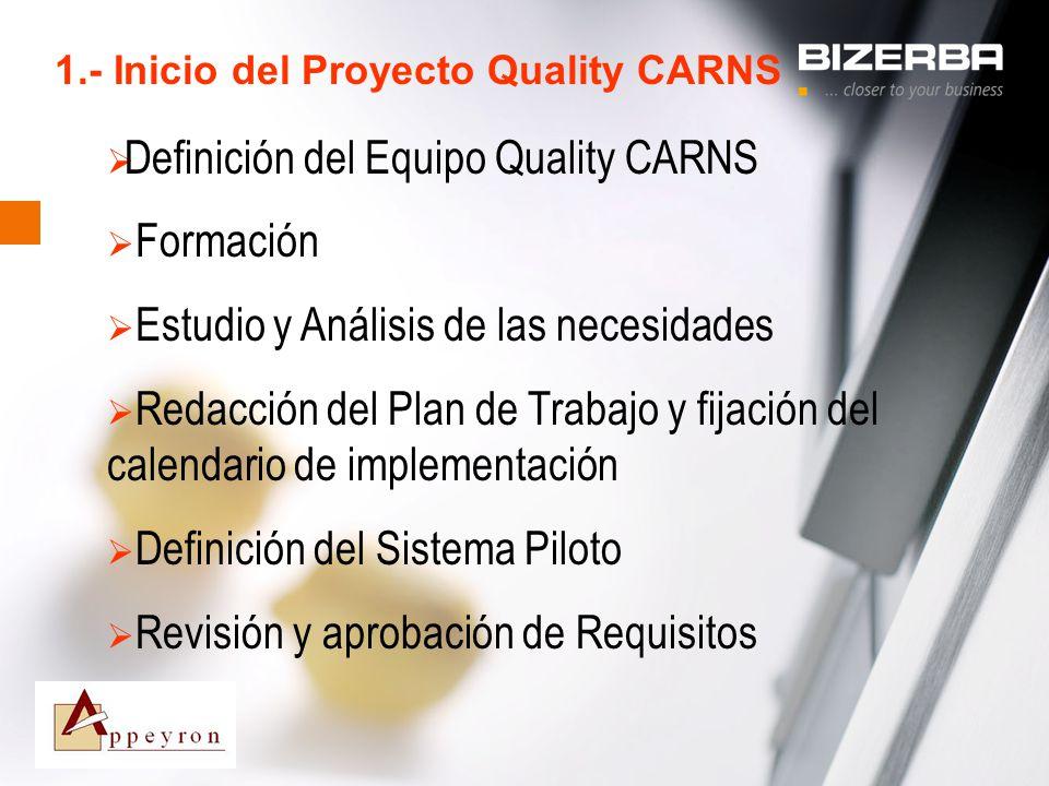 31.10.2000 1.- Inicio del Proyecto Quality CARNS Definición del Equipo Quality CARNS Formación Estudio y Análisis de las necesidades Redacción del Pla