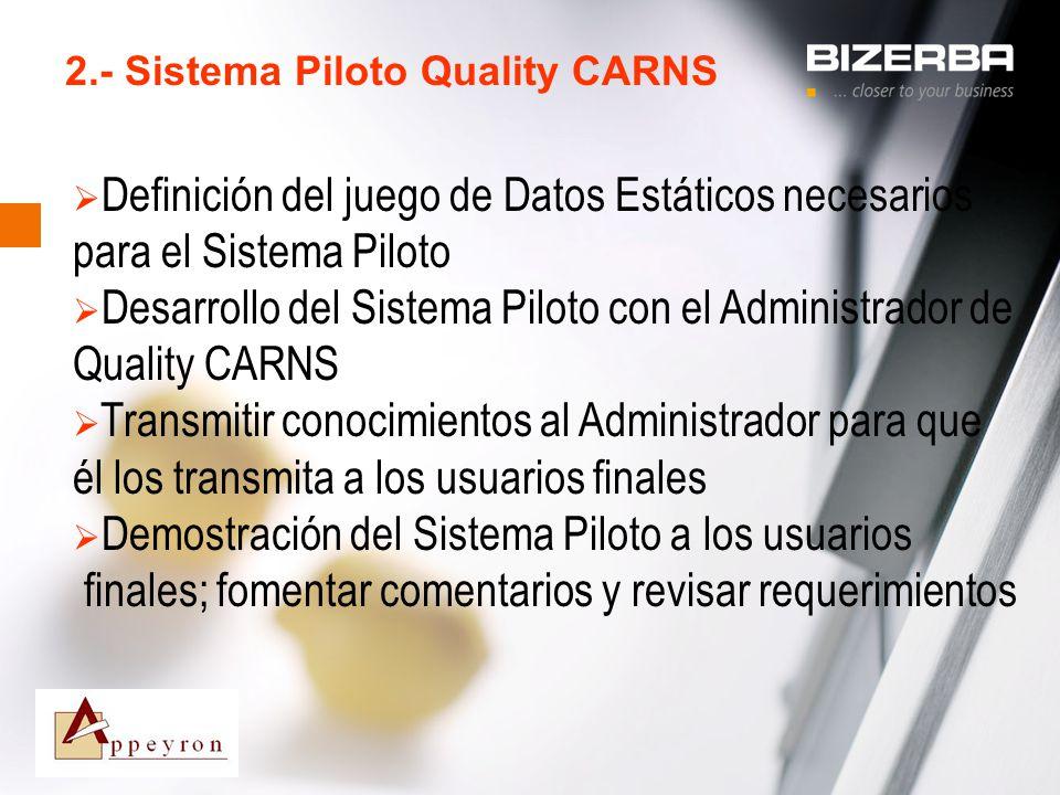31.10.2000 2.- Sistema Piloto Quality CARNS Definición del juego de Datos Estáticos necesarios para el Sistema Piloto Desarrollo del Sistema Piloto co