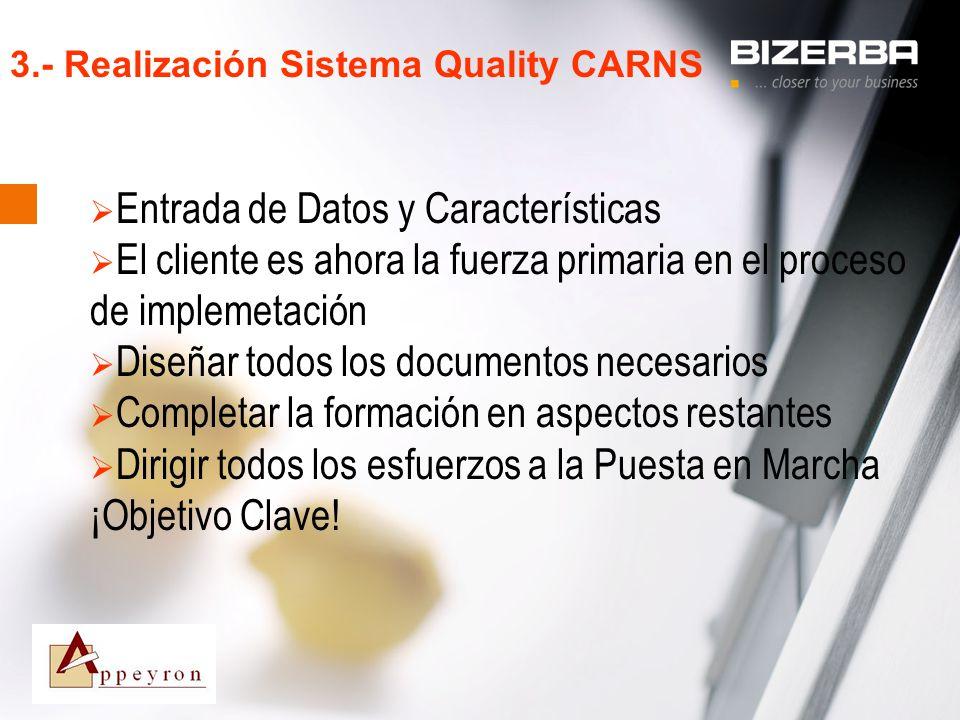 31.10.2000 3.- Realización Sistema Quality CARNS Entrada de Datos y Características El cliente es ahora la fuerza primaria en el proceso de implemetac