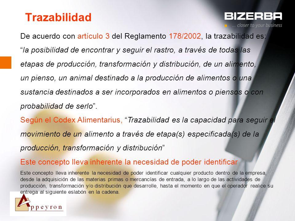 Trazabilidad De acuerdo con artículo 3 del Reglamento 178/2002, la trazabilidad es: la posibilidad de encontrar y seguir el rastro, a través de todas