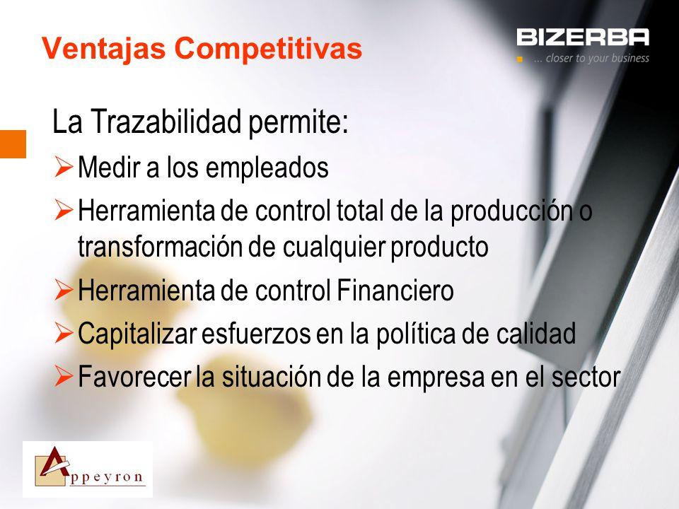 31.10.2000 Ventajas Competitivas La Trazabilidad permite: Medir a los empleados Herramienta de control total de la producción o transformación de cual