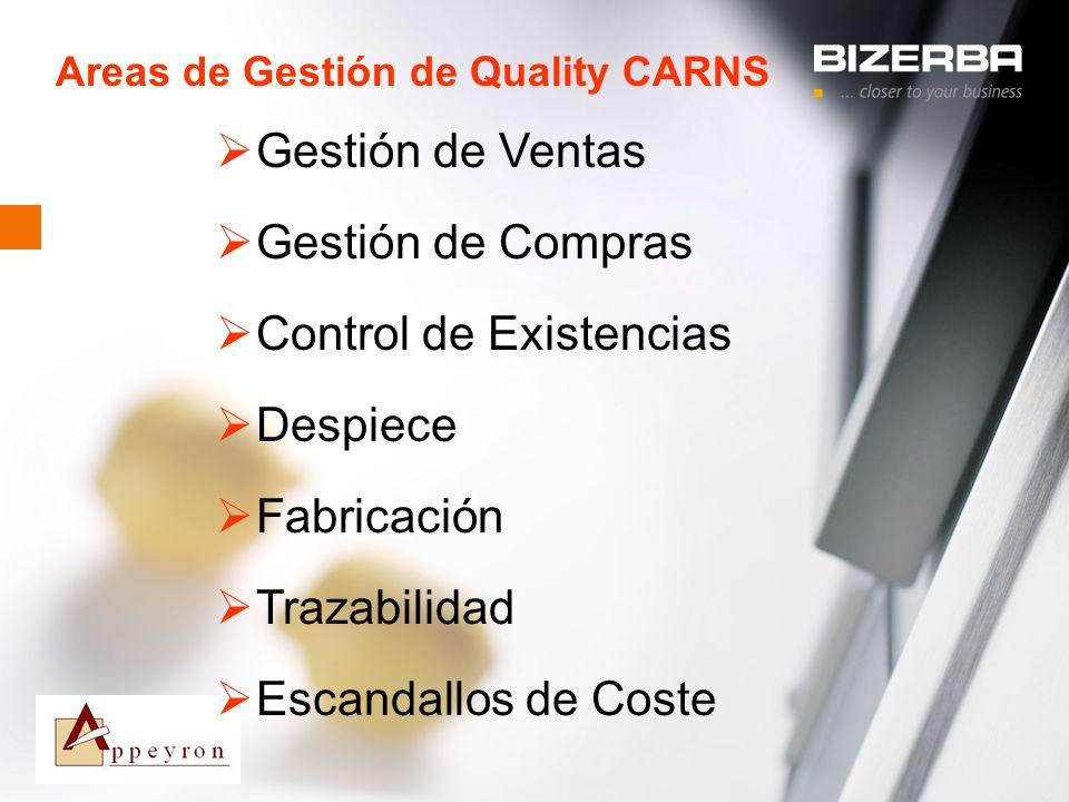 31.10.2000 Areas de Gestión de Quality CARNS Gestión de Ventas Gestión de Compras Control de Existencias Despiece Fabricación Trazabilidad Escandallos