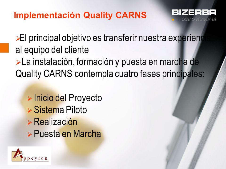 31.10.2000 Implementación Quality CARNS El principal objetivo es transferir nuestra experiencia al equipo del cliente La instalación, formación y pues