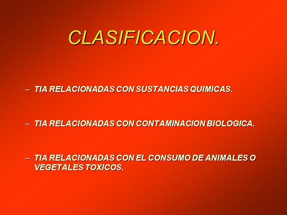 CLASIFICACION.–TIA RELACIONADAS CON SUSTANCIAS QUIMICAS.
