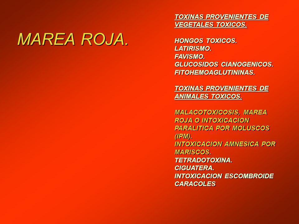 MAREA ROJA.TOXINAS PROVENIENTES DE VEGETALES TOXICOS.