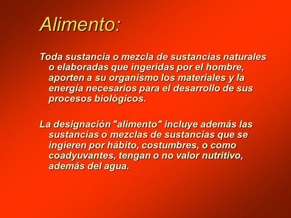 Alimento: Toda sustancia o mezcla de sustancias naturales o elaboradas que ingeridas por el hombre, aporten a su organismo los materiales y la energía necesarios para el desarrollo de sus procesos biológicos.