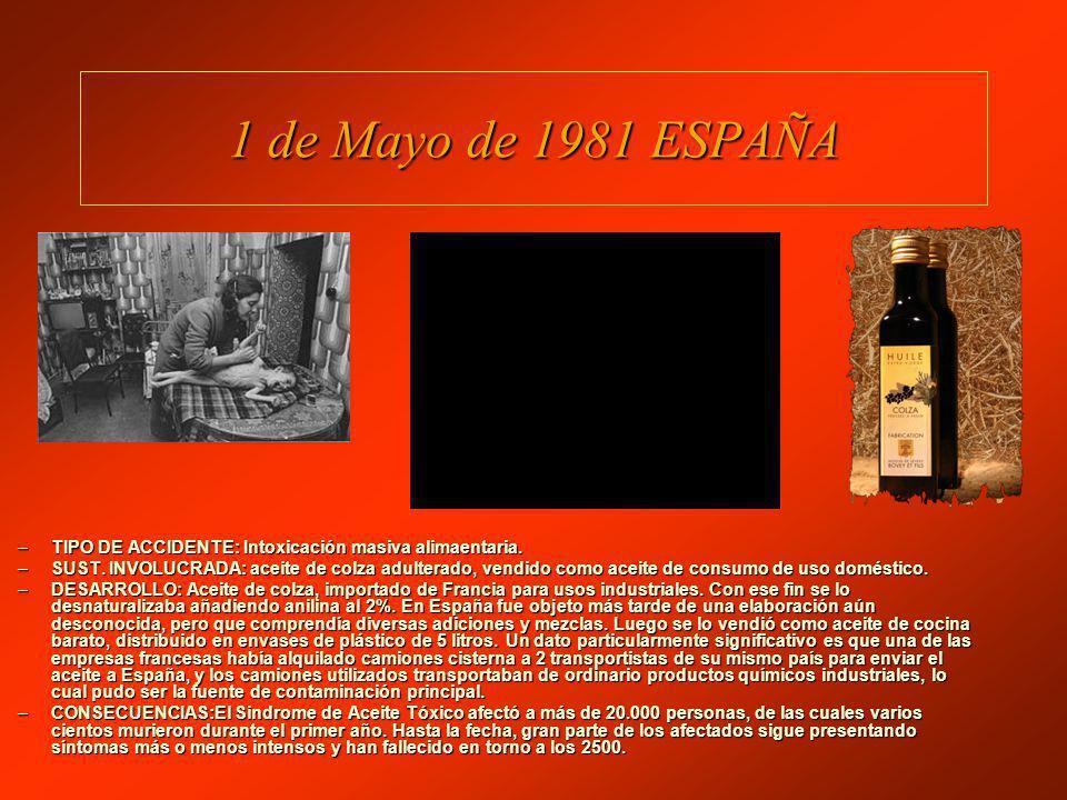 1 de Mayo de 1981 ESPAÑA –TIPO DE ACCIDENTE: Intoxicación masiva alimaentaria.