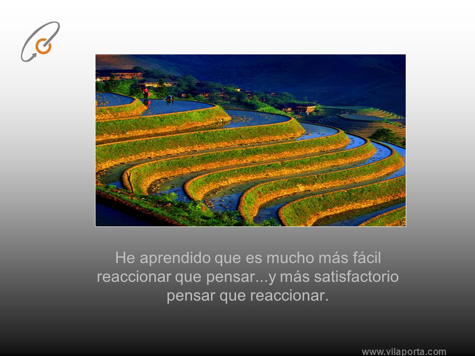 www.vilaporta.com He aprendido que es mucho más fácil reaccionar que pensar...y más satisfactorio pensar que reaccionar.
