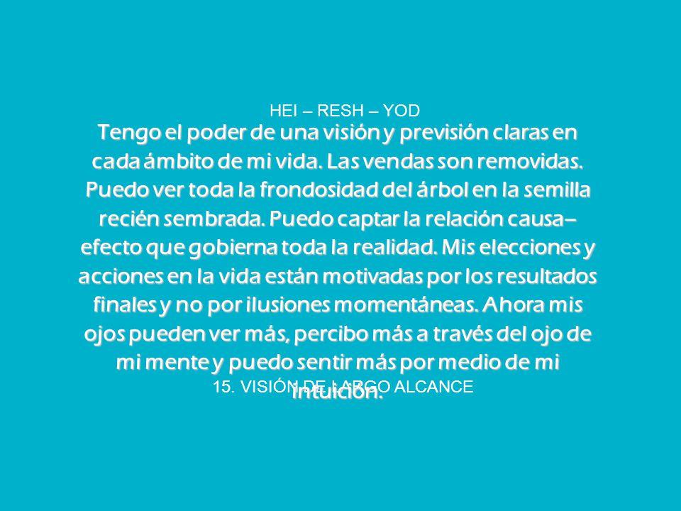 15. VISIÓN DE LARGO ALCANCE HEI – RESH – YOD Tengo el poder de una visión y previsión claras en cada ámbito de mi vida. Las vendas son removidas. Pued
