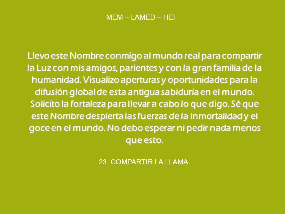 23. COMPARTIR LA LLAMA MEM – LAMED – HEI Llevo este Nombre conmigo al mundo real para compartir la Luz con mis amigos, parientes y con la gran familia