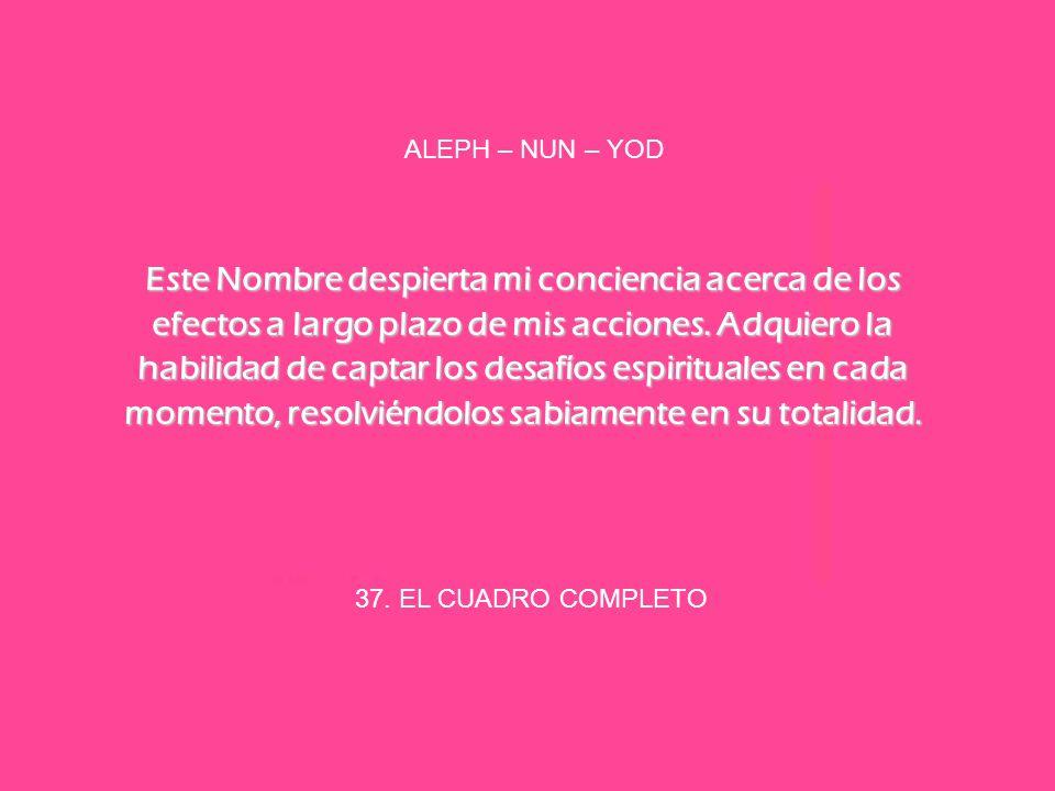 37. EL CUADRO COMPLETO ALEPH – NUN – YOD Este Nombre despierta mi conciencia acerca de los efectos a largo plazo de mis acciones. Adquiero la habilida