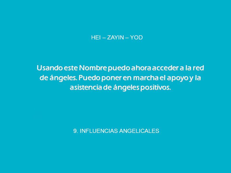 9. INFLUENCIAS ANGELICALES HEI – ZAYIN – YOD Usando este Nombre puedo ahora acceder a la red de ángeles. Puedo poner en marcha el apoyo y la asistenci
