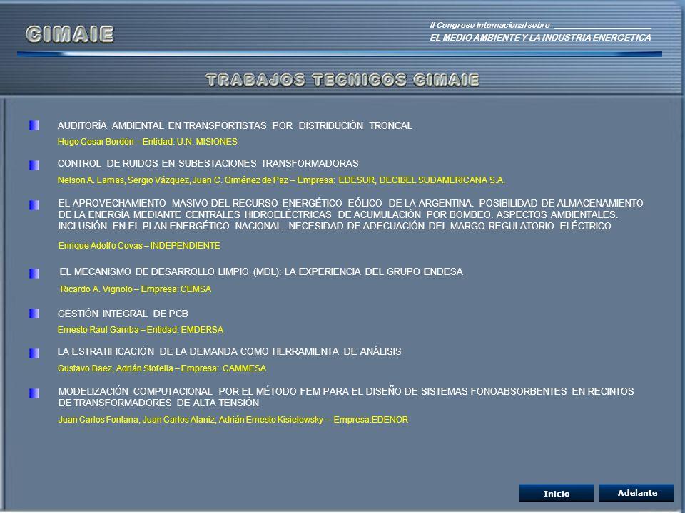 II Congreso Internacional sobre EL MEDIO AMBIENTE Y LA INDUSTRIA ENERGETICA AUDITORÍA AMBIENTAL EN TRANSPORTISTAS POR DISTRIBUCIÓN TRONCAL Hugo Cesar
