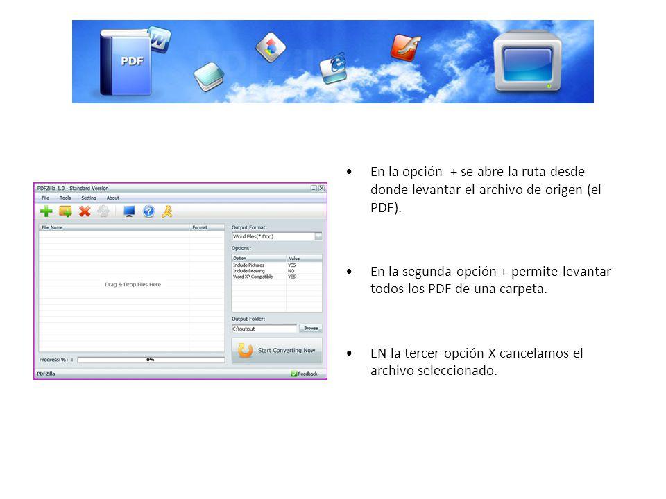 En la opción + se abre la ruta desde donde levantar el archivo de origen (el PDF).
