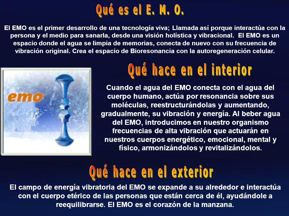 Cuando el agua del EMO conecta con el agua del cuerpo humano, actúa por resonancia sobre sus moléculas, reestructurándolas y aumentando, gradualmente, su vibración y energía.