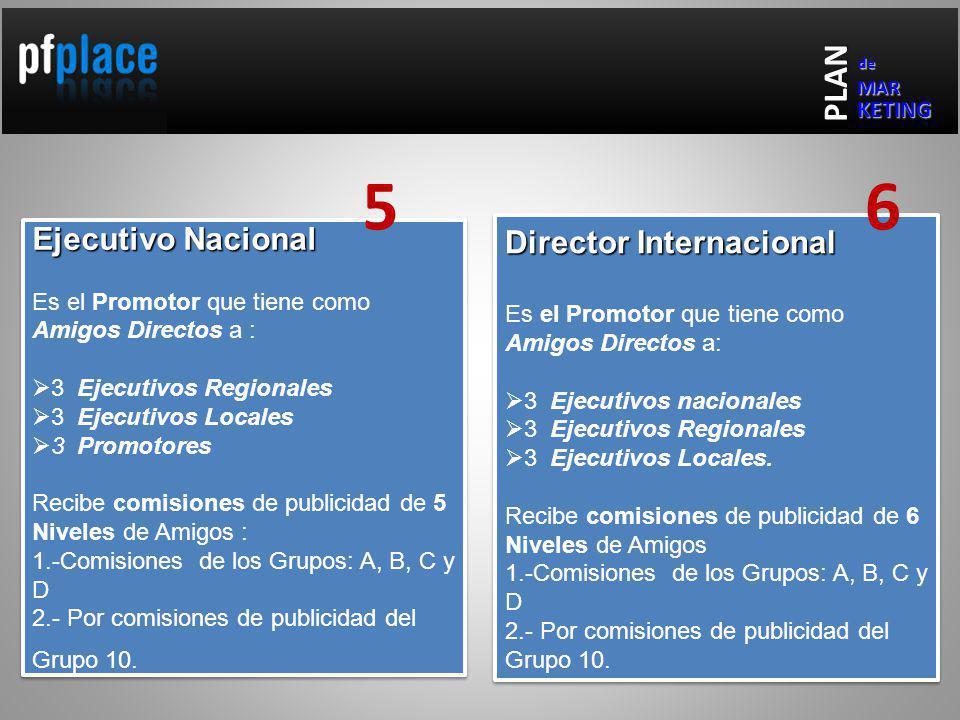 Ejecutivo Nacional Es el Promotor que tiene como Amigos Directos a : 3 Ejecutivos Regionales 3 Ejecutivos Locales 3 Promotores Recibe comisiones de publicidad de 5 Niveles de Amigos : 1.-Comisiones de los Grupos: A, B, C y D 2.- Por comisiones de publicidad del Grupo 10.
