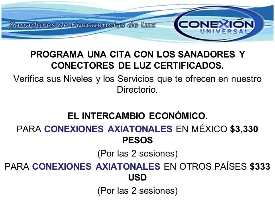 PROGRAMA UNA CITA CON LOS SANADORES Y CONECTORES DE LUZ CERTIFICADOS. Verifica sus Niveles y los Servicios que te ofrecen en nuestro Directorio. EL IN