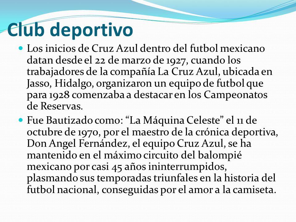 Club deportivo Los inicios de Cruz Azul dentro del futbol mexicano datan desde el 22 de marzo de 1927, cuando los trabajadores de la compañía La Cruz Azul, ubicada en Jasso, Hidalgo, organizaron un equipo de futbol que para 1928 comenzaba a destacar en los Campeonatos de Reservas.