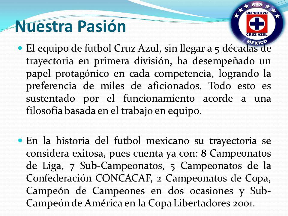 Nuestra Pasión El equipo de futbol Cruz Azul, sin llegar a 5 décadas de trayectoria en primera división, ha desempeñado un papel protagónico en cada competencia, logrando la preferencia de miles de aficionados.