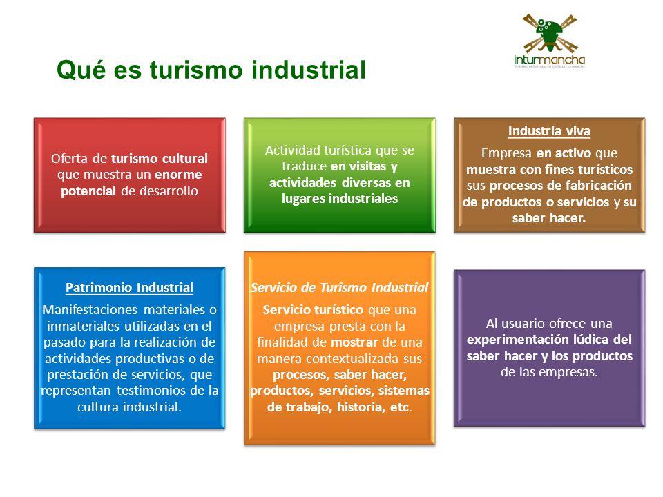 Qué es turismo industrial Oferta de turismo cultural que muestra un enorme potencial de desarrollo Actividad turística que se traduce en visitas y act
