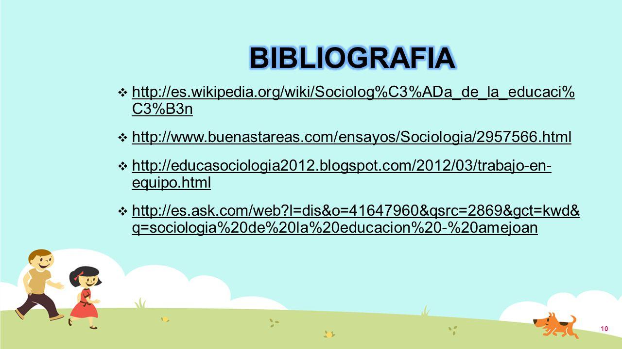 http://es.wikipedia.org/wiki/Sociolog%C3%ADa_de_la_educaci% C3%B3n http://www.buenastareas.com/ensayos/Sociologia/2957566.html http://educasociologia2012.blogspot.com/2012/03/trabajo-en- equipo.html http://es.ask.com/web?l=dis&o=41647960&qsrc=2869&gct=kwd& q=sociologia%20de%20la%20educacion%20-%20amejoan 10