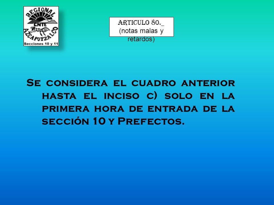 articulo 80._ (notas malas y retardos) Se considera el cuadro anterior hasta el inciso c) solo en la primera hora de entrada de la sección 10 y Prefec