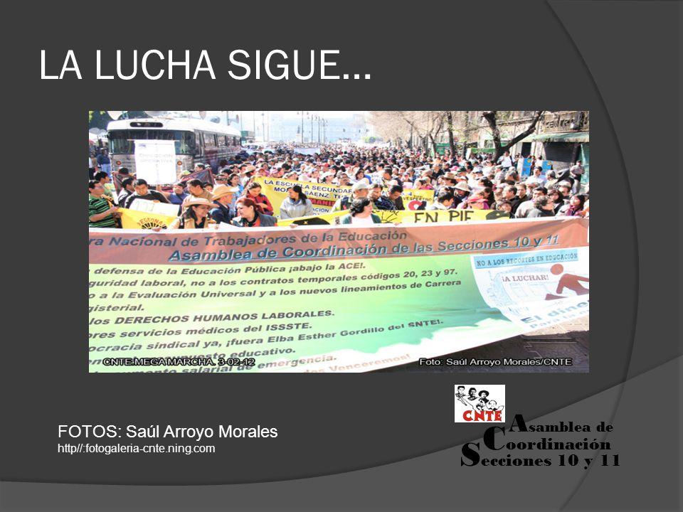 LA LUCHA SIGUE… FOTOS: Saúl Arroyo Morales http//:fotogaleria-cnte.ning.com S ecciones 10 y 11 A samblea de C oordinación