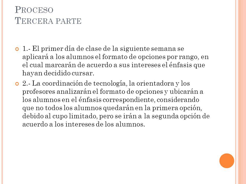 P ROCESO T ERCERA PARTE 1.- El primer día de clase de la siguiente semana se aplicará a los alumnos el formato de opciones por rango, en el cual marca