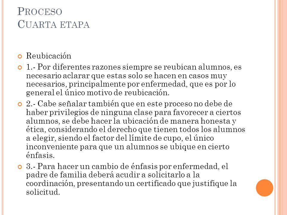 P ROCESO C UARTA ETAPA Reubicación 1.- Por diferentes razones siempre se reubican alumnos, es necesario aclarar que estas solo se hacen en casos muy n