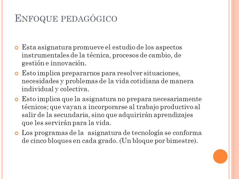 E NFOQUE PEDAGÓGICO Esta asignatura promueve el estudio de los aspectos instrumentales de la técnica, procesos de cambio, de gestión e innovación. Est