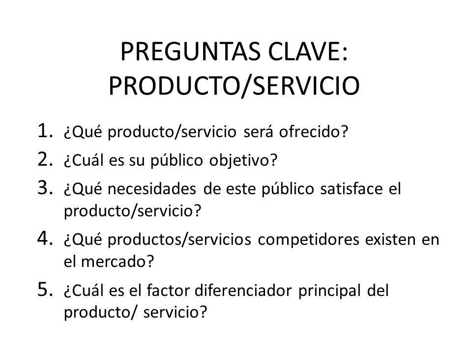 1. ¿Qué producto/servicio será ofrecido? 2. ¿Cuál es su público objetivo? 3. ¿Qué necesidades de este público satisface el producto/servicio? 4. ¿Qué