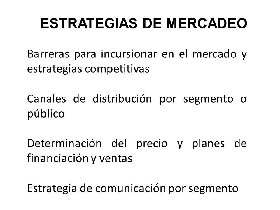 ESTRATEGIAS DE MERCADEO Barreras para incursionar en el mercado y estrategias competitivas Canales de distribución por segmento o público Determinació