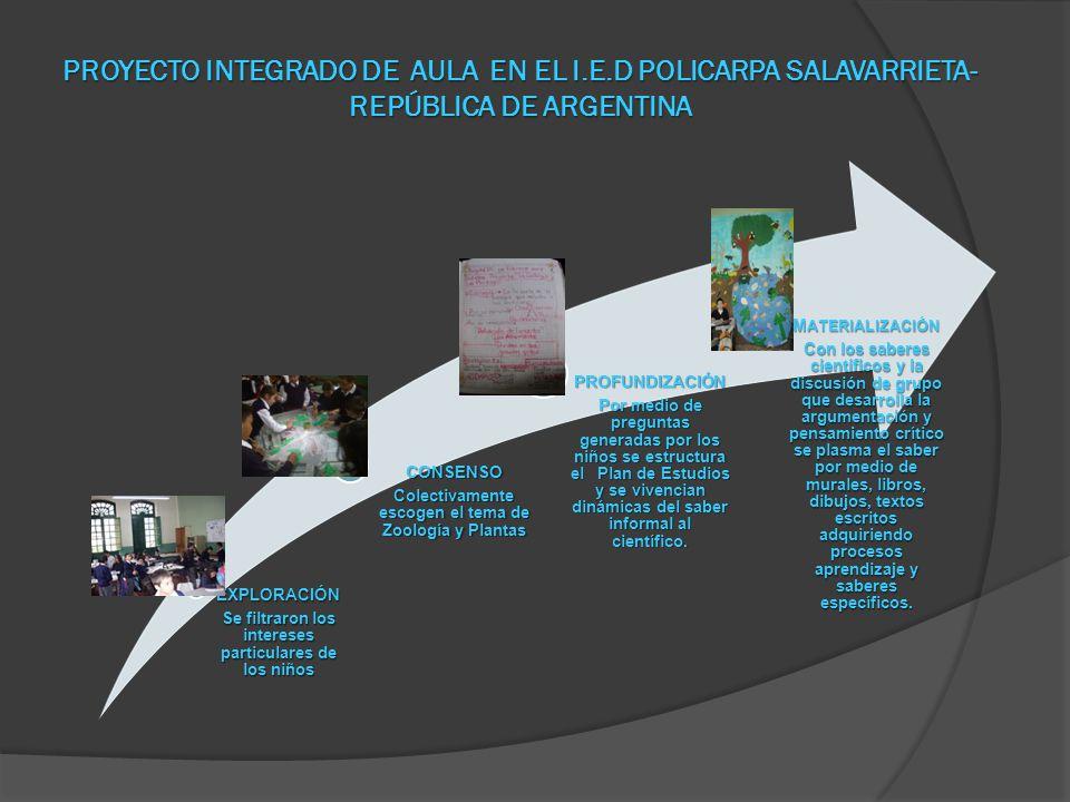 PROYECTO INTEGRADO DE AULA EN EL I.E.D POLICARPA SALAVARRIETA- REPÚBLICA DE ARGENTINA EXPLORACIÓN Se filtraron los intereses particulares de los niños