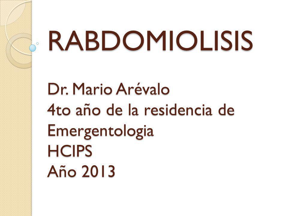 La rabdomiólisis es un síndrome causado por lesión en el músculo esquelético y la resultante liberación del contenido de las células musculares (mioglobina, potasio, fosfato, etc.) dentro del plasma.